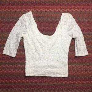 WHITE FLORAL SCOOP NECK BANDAGE CROP